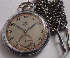 "Art Deco Wwii Very Rare Germany Military Pilots -Men'S Pocket Watch""Bischoff"""