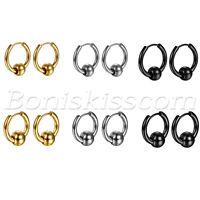 2pcs Men's Women's Charm Round Bead Charms Huggie Hinged Hoop Ear Studs Earrings