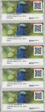 Costa Rica 2018 Bird,Mielero Patirrojo,Red-legged Honeycreeper,ATM Labels 5v MNH