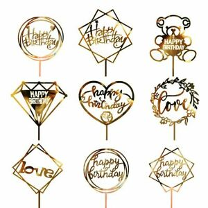 Supplies Golden Happy Birthday Colored Flowers Baking Supplies Cake Topper