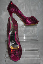 RAVEL WOMENS Pink Sequence Pattern Peep Toe High Heel Shoes Size:4/37(WHS72)