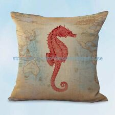 US SELLER, interior decoration home seahorse marine fish world map cushion cover