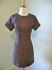 NWT J.CREW COLLECTION SHORT-SLEEVE ROSE-GOLD TWEED DRESS, SIZE 0, $398