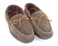 Clarks Indoor Outdoor Mens Size 10 Brown Suede Leather Slippers