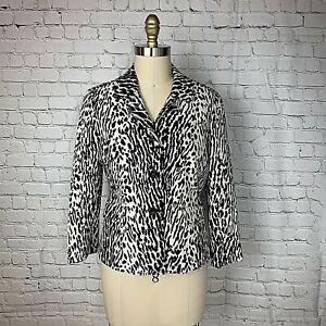 Talbots Womens Blazer Black White Animal Print Career Stretch Size 10P Petite