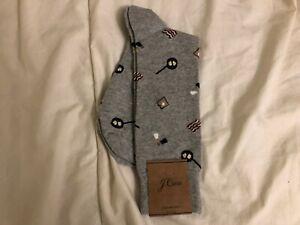 J.Crew Breakfast Print Socks, One Size, Heather Light Grey, NWT!, Pics!