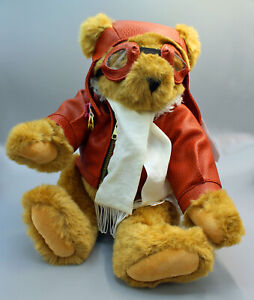 "15"" Vermont Teddy Bear Aviator pilot leather goggles bomber jacket plush"