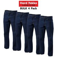 Mens Hard Yakka Denim Jeans 4PK Work Pants Trade Rigid Farm Heavy Duty Y03514