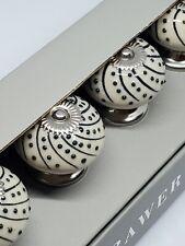 New Casa Decor Ceramic Drawer Pulls Knobs Set Of 8 Navy Blue Raised Dots Silver