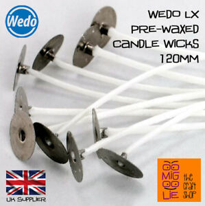 Wedo LX Pre Waxed Candle Wicks with Sustainers 120mm Candle Craft Making UK *New