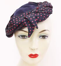 cc6c17749a2db 1940s Topper Hat Navy Red Wool Turban Ladies Vintage Accessories Style  Fashion