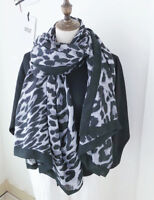 Navy Ladies Large Premium Solid Warm Leopard Animal Print Designer Scarf Gift