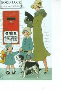 postcard: LADY WITH BLACK CAT CHILDREN WITH SHEEPDOG POST BOX  Rosalind Wicks