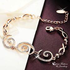 18K Rose Gold GF Simulated Diamond Stylish Spiral Circle Lobster Closer Bracelet