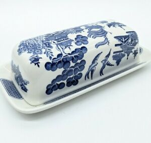 Churchill Blue Willow Covered Butter Dish Blue&White w/Blue Stamp England