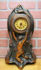 Antique Cherub Putti Decorative Arts Clock Cast Iron Copper Wash Pat Apld For
