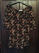 Black Top With Red Orange Floral Pattern Size 14 Maternity Button NeckLine