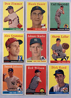 1958 Topps Baseball Lot of 9 Different Cards EX Condition