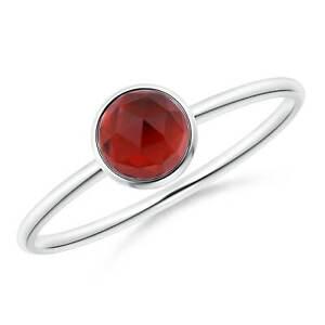 Bezel Set Round Garnet Stackable Ring Size 6 in Sterling Silver 5mm Garnet