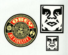 OBEY GIANT Shepard Fairey 3 STICKER LOT Set #10 *BRAND NEW* Hi Fidelity Records