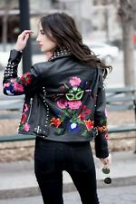 Small ASOS Premium Leather Biker Jacket Floral Embroidery and Stud Detail Size 4