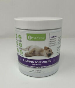 Calming Dog Chews Chamomile Valerian Root Ginger Beef Flavor 60 ct EXP 12/2021
