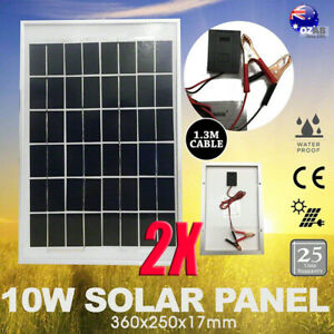 2X 10W 12V SOLAR PANEL BATTERY CHARGING KIT CARAVAN CAMPING POWER MINI HOME