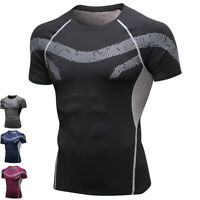 Men's Workout Athletic Compression Shirts Cool Dry Short Sleeve Slimming Gym Top