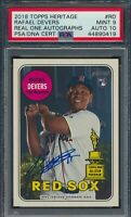 2018 Topps Heritage Rafael Devers Real One Auto RC Boston Red Sox #RD PSA 9 MINT