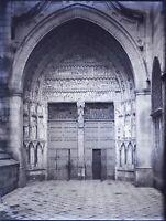 ESPAGNE Porte Cathédrale à Identifier NEGATIF Photo Stereo Plaque Verre VR10L3