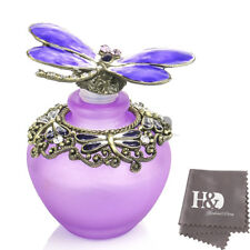 H&D Handmade Vintage Empty Purp Crystal Dragonfly Perfume Bottle Lady gift 40ml