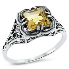 Sterling Silver Ring Size 6.75, #726 Real Citrine Art Deco Antique Style 925