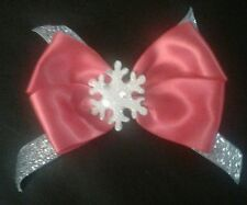 Winter Christmas red satan bow with glittery silver & glitter snowflake hairclip