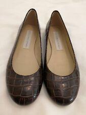 c927ad5cf13 Stella McCartney Croc Embossed Leather Flat Ballet Slip-on Shoe Brown uk 2  eu 35