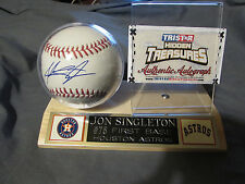 Jon Singleton Autographed Baseball Wood base & Astros Color nameplate Tristar Co