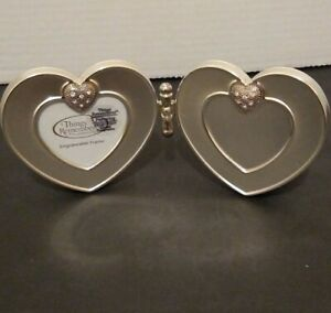 THINGS REMEMBERED Double Heart Brushed Picture Frame, Hinged, Swarovski Crystals