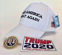 President Donald Trump Hat..Make America Great Again Cap..MAGA  White + 2 Decals