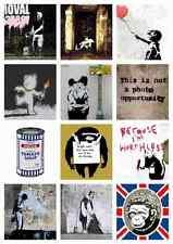 Banksy collage montage set 22 A4 signe aluminium métal