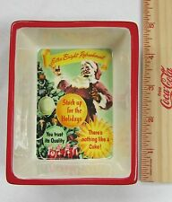 "Coca-Cola Ceramic Santa Dish - Small ""Extra-Bright"" - NEW"