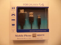 MHL Micro USB to HDMI HDTV Adapter Cable BLACK for Samsung Galaxy S5
