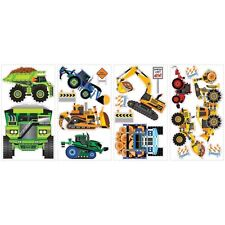 Construction Trucks wall stickers 18 decals decor signs cement bulldozer crane +