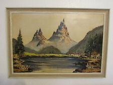 """Très Grand Vintage peinture à l'huile sur toile"""" montagnes"""", signée par de NOYES"""