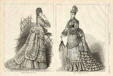 Victorian View Ladies Dinner Toilette Spring Costume 1874 Antique Art Print