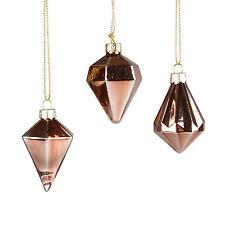 Sass & Belle   CHRISTMAS BAUBLE   Set of 3   Copper Diamond Bauble Decorations