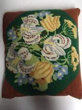 Vintage Needlepoint Toss Pillow Floral 1960's