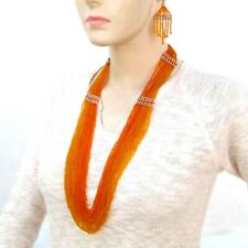 NEW STATEMENT ORANGE HANDMADE NECKLACE EARRINGS  SET S35/8
