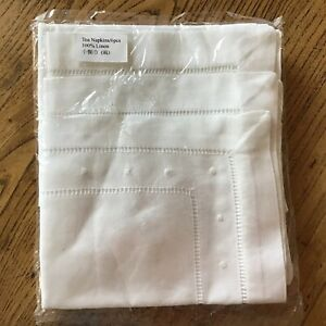 """New Set of Hand Embroidered 12"""" Square Linen Napkins from Vietnam!"""