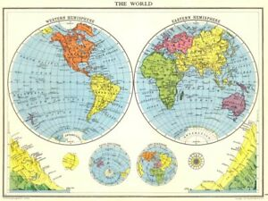 WORLD. The World in twin Hemispheres. Mountain heights 1938 old vintage map