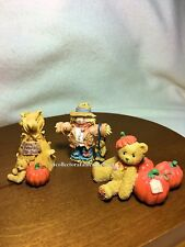 Cherished Teddies Halloween Cornstalk Scarecrow & Pumpkins Set of 3 New