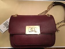 NWT Michael Kors Sloan Small Shoulder Bag Pebbled Leather Merlot Purse $248